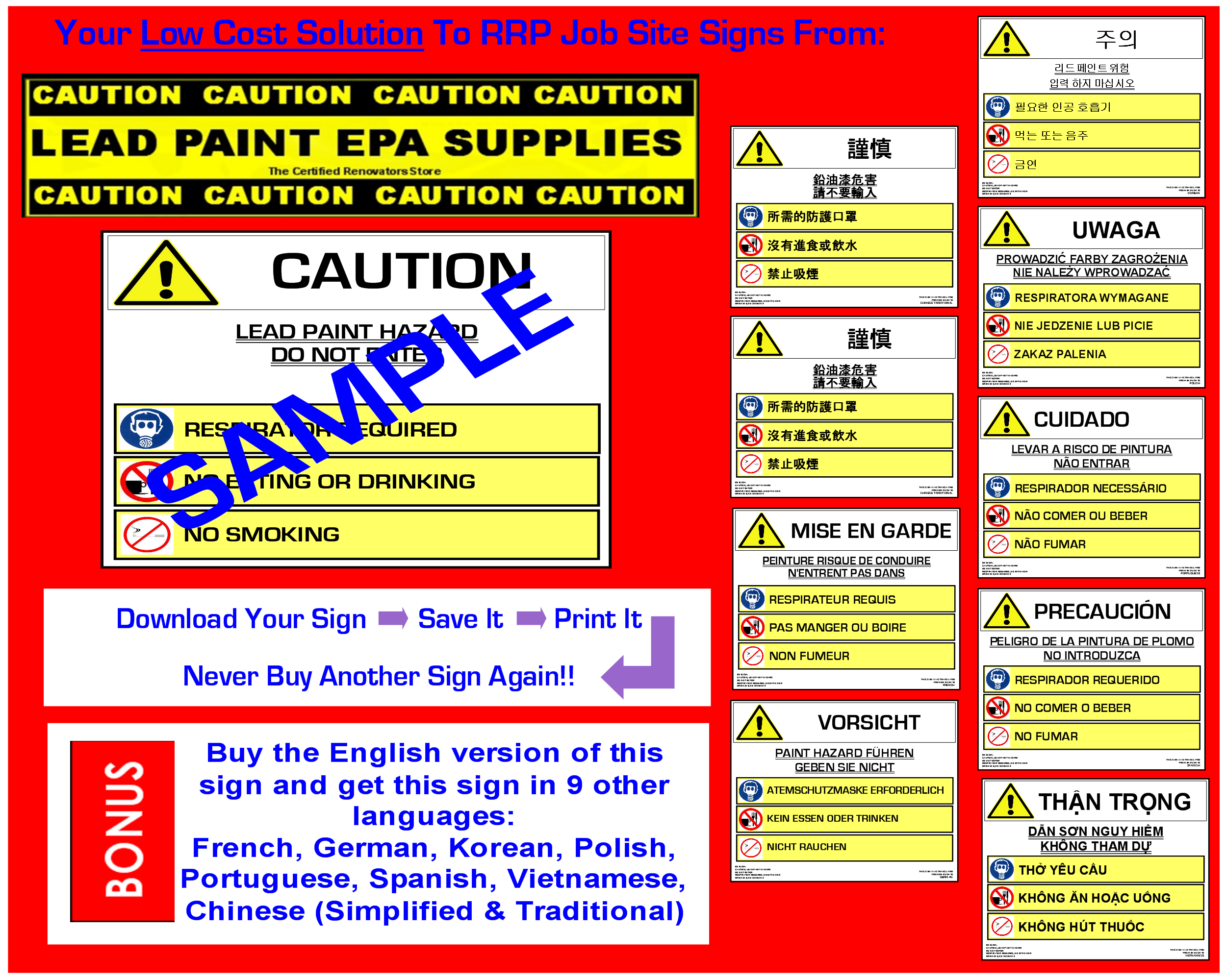 Rrp job site sign lead paint hazard symbols 10 languages caution lead paint hazard symbols bannerg biocorpaavc Image collections