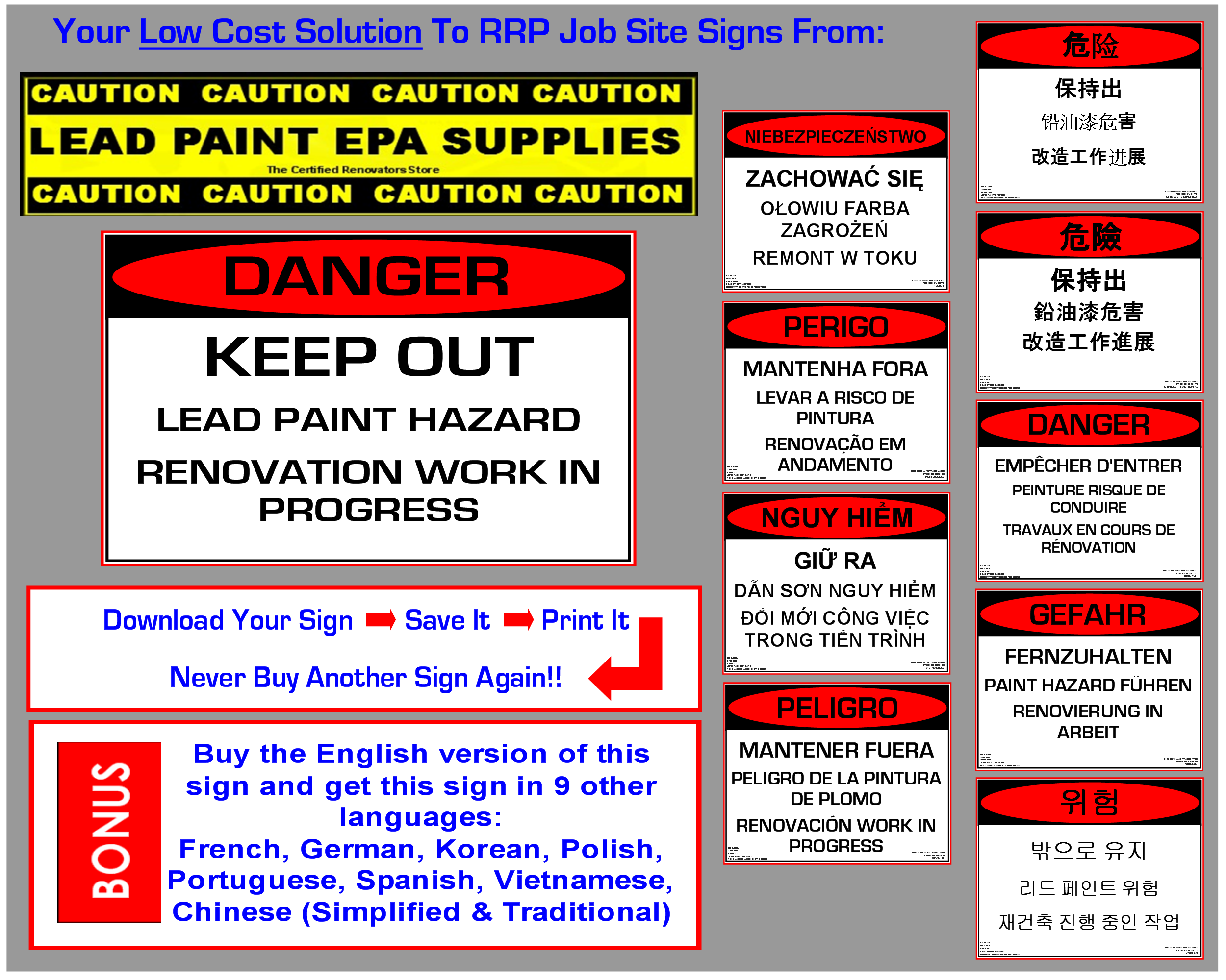 Rrp job site sign danger keep out renovation 10 languages for What are the dangers of lead paint